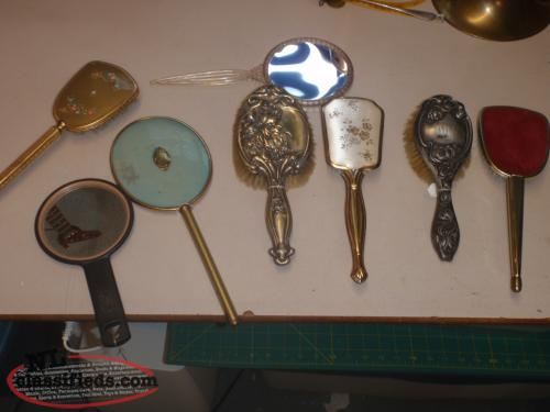 antique hair brushes and mirrors