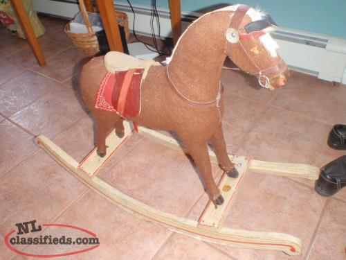 1950's antique straw filled rocking horse