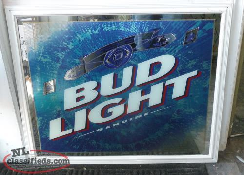 Large Vintage Bud Light Beveled Mirror