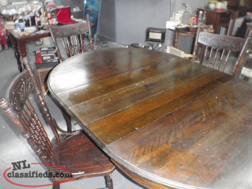 6 leg antique table and 4 chairs