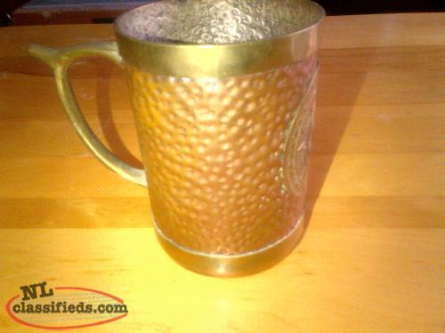 Antique beaten copper beer mug