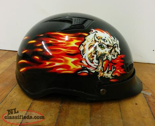 Motorcycle Helmet with Flame Graphics