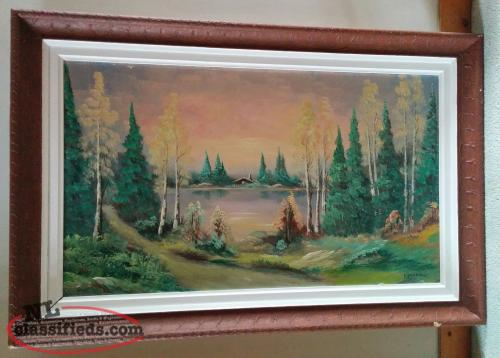 Large Original Painting of Cabin on the Lake