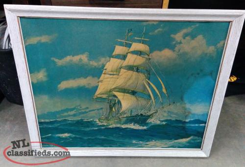 Large Framed Sailing Ship Print