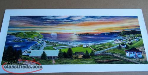 "12"" x 32"" Print by Glenn Clarke Early Outing in Ferryland"