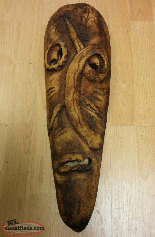 Wood Carved Face Mask with Snake