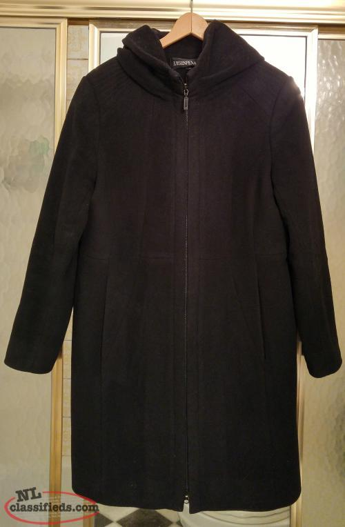 Black wool dress coat with hood, size large