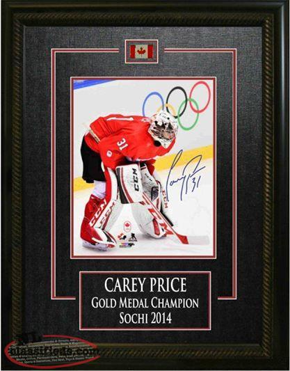 Carey Price Montreal Canadians signed/framed Olympic picture with COA