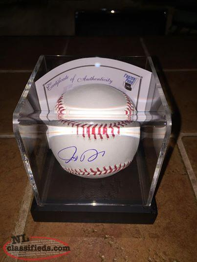 Josh Donaldson signed baseball in display case with COA