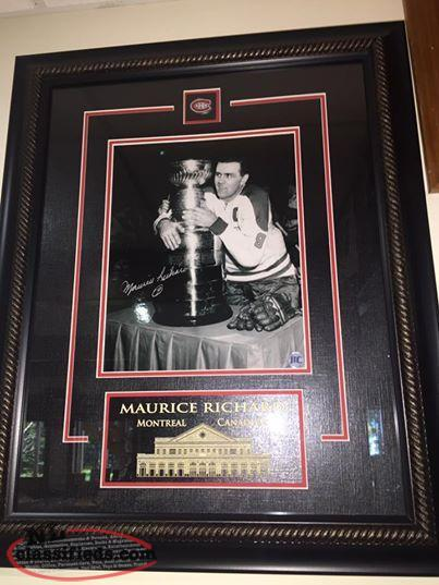 Maurice Richard signed/framed Montreal Canadians picture with COA