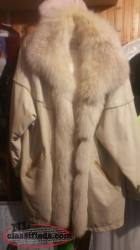 Leather & Fox fur coat
