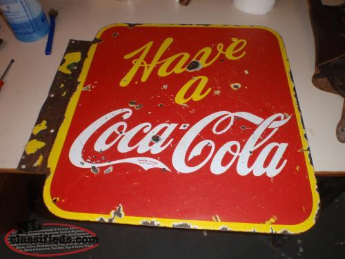 1941 double side porcleian coca - cola sign . RARE