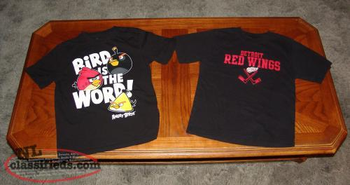 Boys T-Shirts. Size Med Youth 12 / 14. Angry Birds, Detroit Red Wings