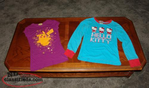 Girls Tops Youth size XS Pokemon t shirt and Hello Kitty Long Sleeve.