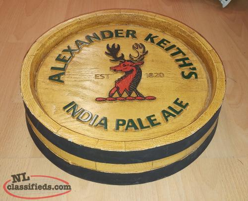Alexander Keiths Barrel Style Bar Sign