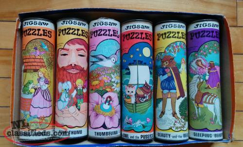 Vintage Jigsaw Puzzle Collection in Cans