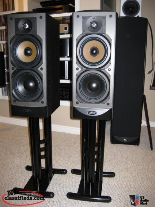 Premier 3-pillar steel speaker stands, already silica sand filled. Great conditi
