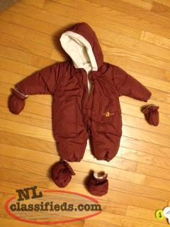 Brand new 6-12 mt burgundy snow suit for sale