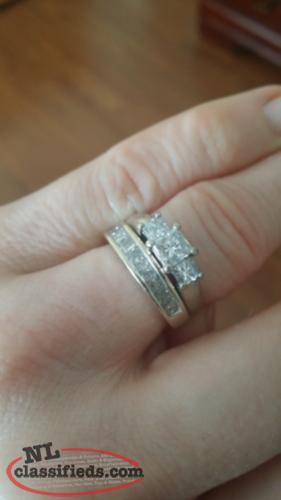 Princess cut white gold wedding and engagement rings