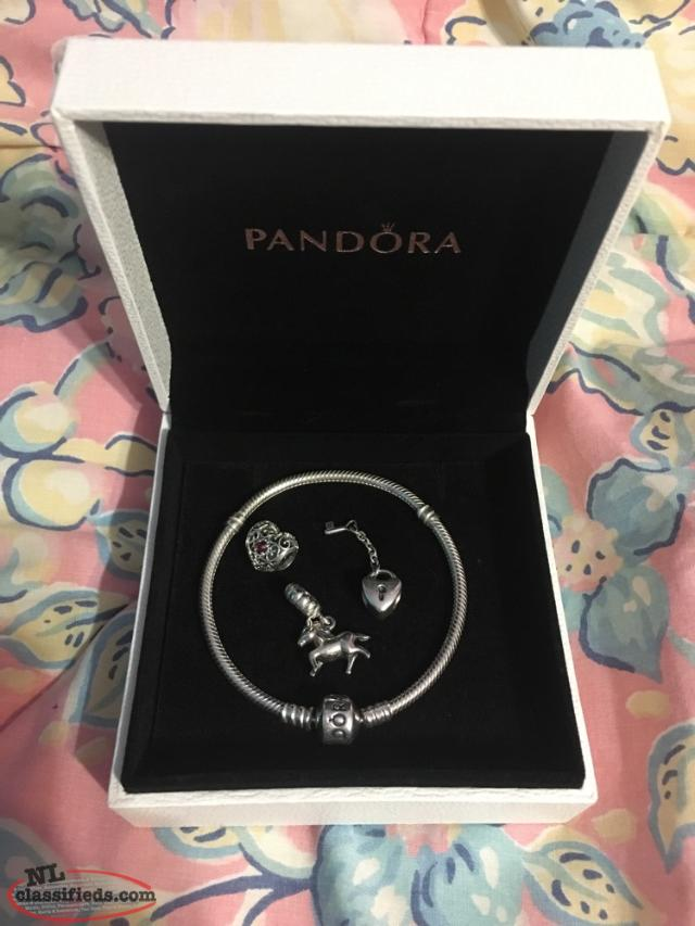 MARKED DOWN!! Sterling Silver Pandora Bracelet with Charms