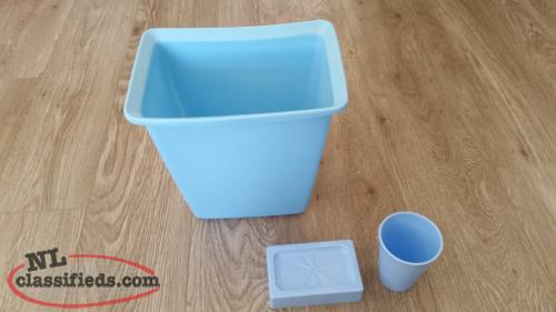 Blue Trash Container, Soap Dish, A Glass