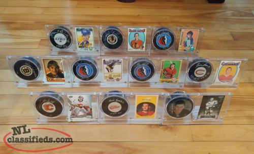 Autographed Hockey Pucks w/Cases