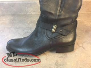 Women's Black Leather Riding Boots,