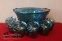 Blue carnival glass punch bowl set