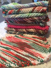 100% cotton hand knit Dish /wash cloths