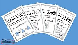 Math 1201, 2201, 2200 and 3200 Workbooks For Sale