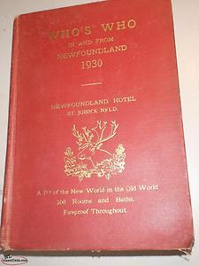 1930 WHO'S WHO FROM NEWFOUNDLAND BOOK