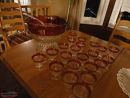 Kings Crown Ruby Punch Bowl Set - extra glass cups!