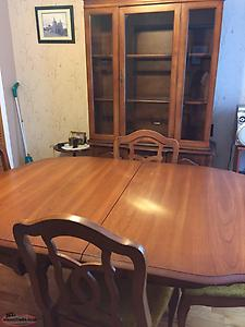 Solid wood dining table, 4 chairs and china cabinet
