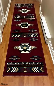 Plum/wine coloured area rug & matching runner (southwestern style pattern)