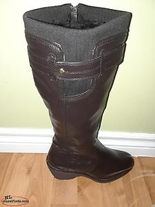 New Ladies Brown Leather Winter Boots Size 7-1/2