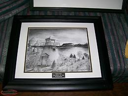 Framed B&W Print of Woody Point, in Gros Morne National Park.
