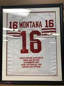Joe Montana Signed And framed San Francisco Jersey