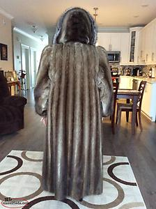 Muskrat Full length fur coat with Detachable Hood