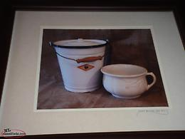 2 pictures of slop pail and chamber pot