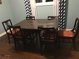 Antique Walnut Gate Table And 6 Harp Back Chairs