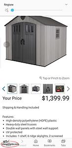 8 x 10 storage shed 1 year old from costco