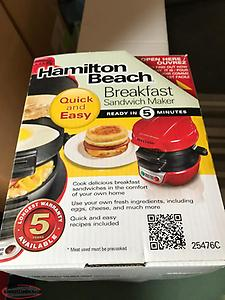 Hamilton Beach Breakfast Sandwich Maker used once.