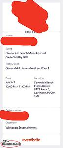 Cavendish Music Beach Festival Ticket