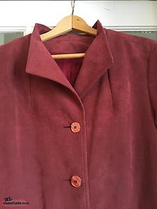 Vintage 1980's Ultrasuede Berry Coloured Trench Coat — NEW PRICE