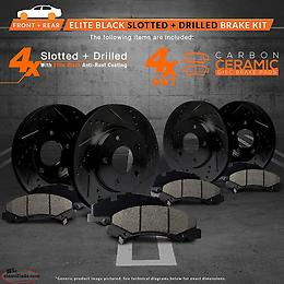 2006-2017 Dodge Ram 1500 Anti-Rust Drilled Slotted FrontRear Rotors/Ceramic Pads