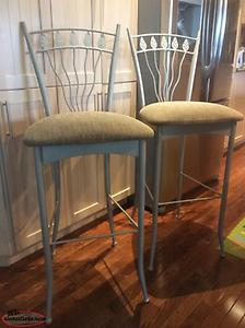 Set of two powder coated bar stools
