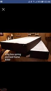 King size box spring and steel bed frame
