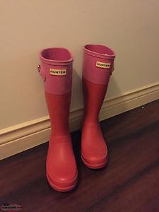 Kids Hunter Rain Boots - red/pink size 5