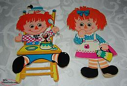 Vintage 1972 Raggady Ann and Andy Wall Hangers