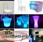 Chairs, led furniture and a large variety of event decor!
